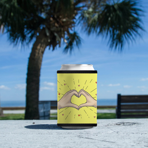 "Koozie with ""Heart_Shaped"" sticker"