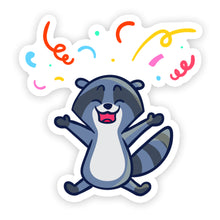 "Load image into Gallery viewer, ""Birthday"" Racoon Sticker"