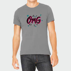 "T-Shirt Unisex with ""OMG"" sticker"
