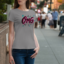 "Load image into Gallery viewer, T-Shirt Unisex with ""OMG"" sticker"