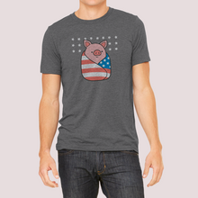 "Load image into Gallery viewer, T-Shirt Unisex with ""Piggy-in-a-blanket"" sticker"