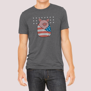 "T-Shirt Unisex with ""Piggy-in-a-blanket"" sticker"