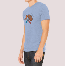 "Load image into Gallery viewer, T-Shirt with ""BBQ"" sticker"