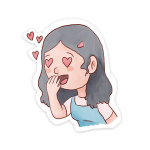 Heart Eyes Girl Sticker