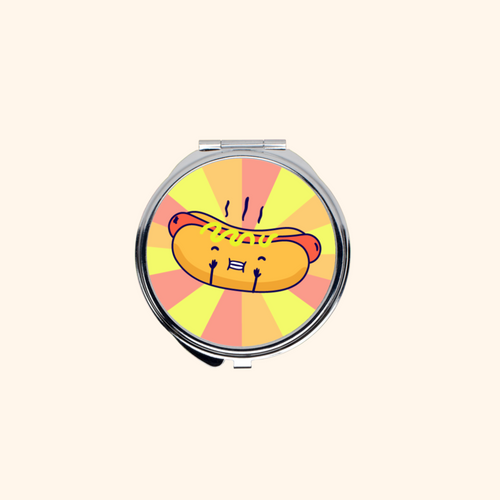 Compact Mirror (Cute Hot Dog)