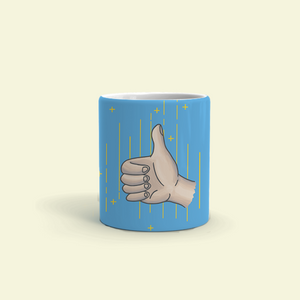 "Mug with ""Thumb_Up"" sticker"