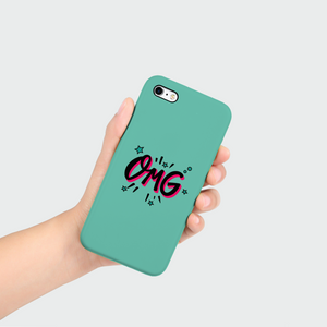 "Phone Case with ""OMG"" sticker"