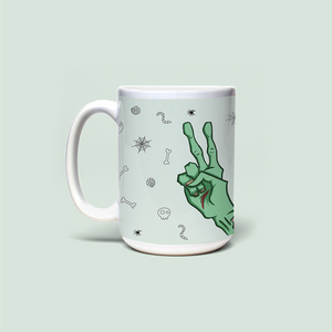 "Mug with ""Finger two"" sticker"