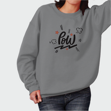 "Load image into Gallery viewer, Sweatshirt Unisex with ""Pow"" sticker"