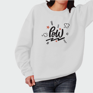 "Sweatshirt Unisex with ""Pow"" sticker"