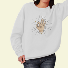 "Load image into Gallery viewer, Sweatshirt with ""Okay"" sticker"
