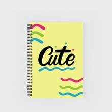 "Load image into Gallery viewer, Notebook with ""CUTE"" sticker"