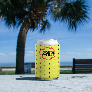 "Koozie with ""ZAP"" sticker"