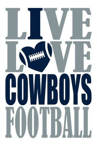 Live Love Cowboys Football Journal: A Lined Notebook For The Dallas Cowboys Fan, 6X9 Inches, 200 Pages. Live Love Football In Silver And I Heart Cowboys In Blue. (Sports Fan Journals)