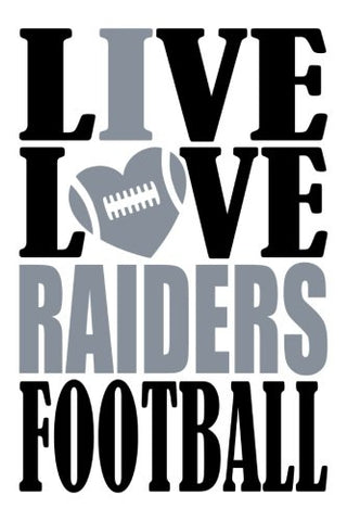 Live Love Raiders Football Journal: A Lined Notebook For The Oakland Raiders Fan, 6X9 Inches, 200 Pages. Live Love Football In Black And I Heart Raiders In Silver. (Sports Fan Journals)