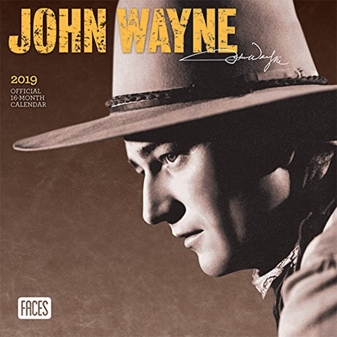 John Wayne 2019 7 X 7 Inch Monthly Mini Wall Calendar By Faces, Usa American Actor Celebrity Country