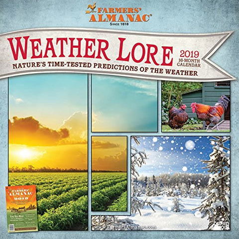 Farmers Almanac Weather Lore 2019 12 X 12 Inch Monthly Square Wall Calendar, Farm Gardening Health Organic