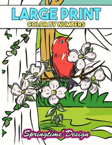 Large Print Adult Coloring Book Color By Number: Springtime Designs