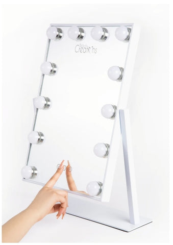 WHITE VANITY MIRROR - 12 BULBS
