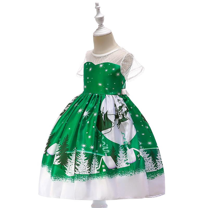 green printed christmas party dress