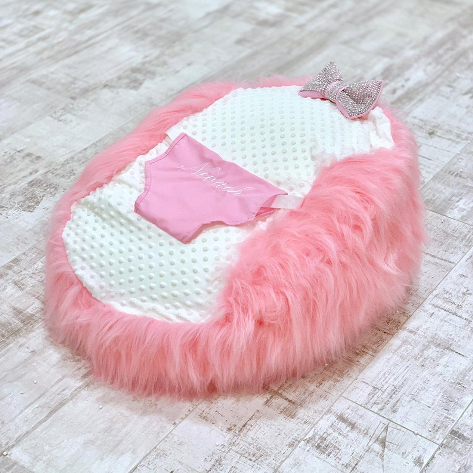 Personalised Pink Fur Baby Bean Bag