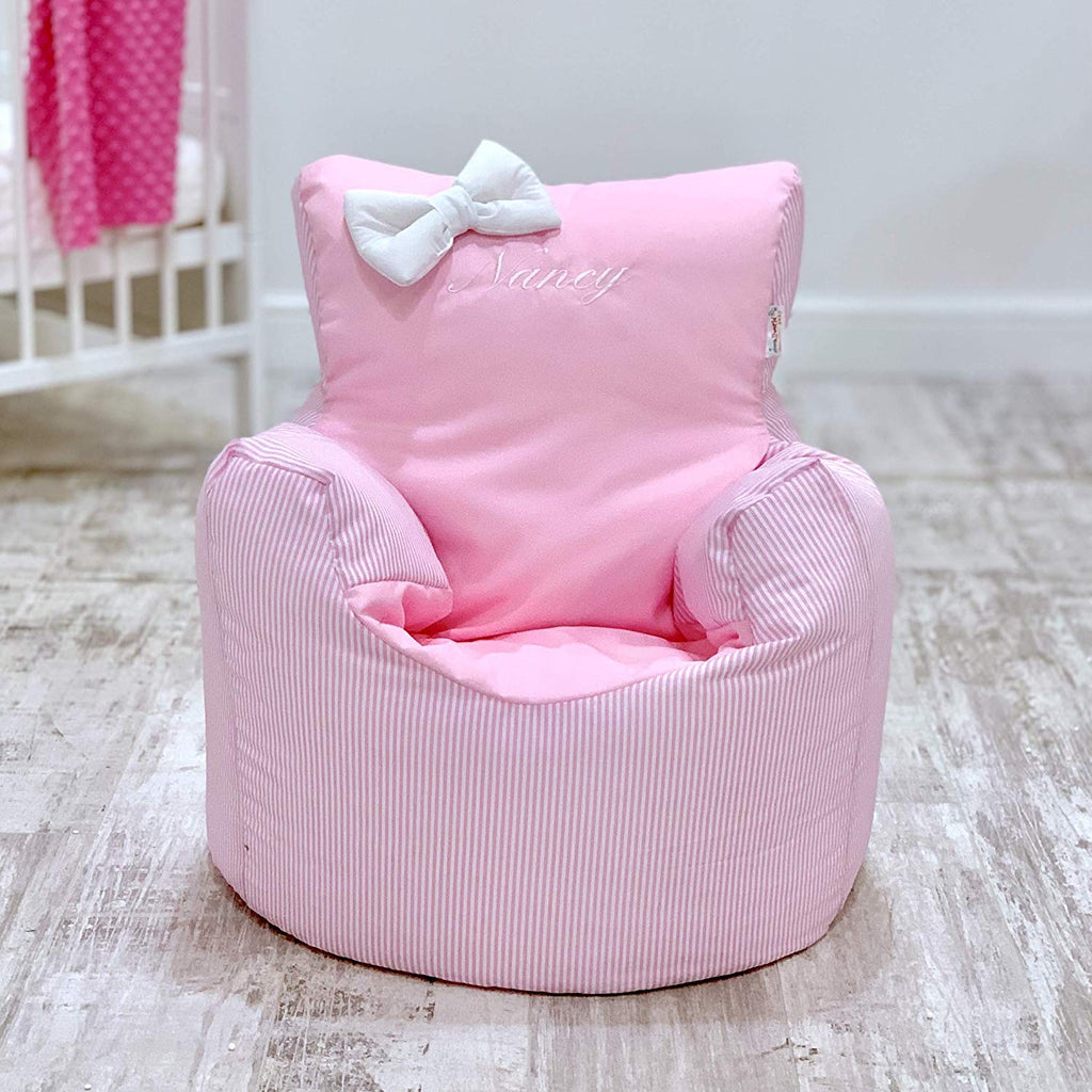 Personalised Pink Pin Stripe Bean Bag Chair