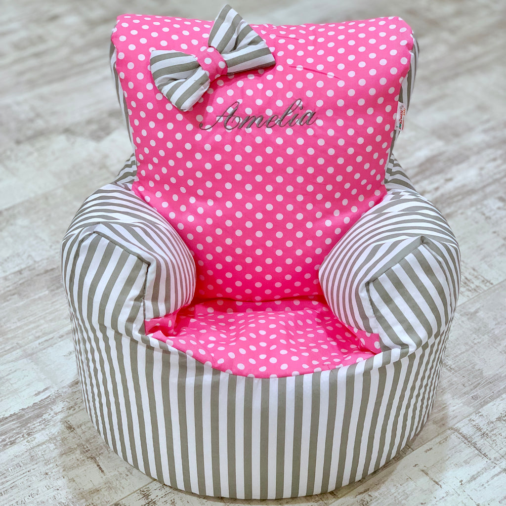 Personalised Grey Stripe And Pink Polka Dot Bean Bag Chair