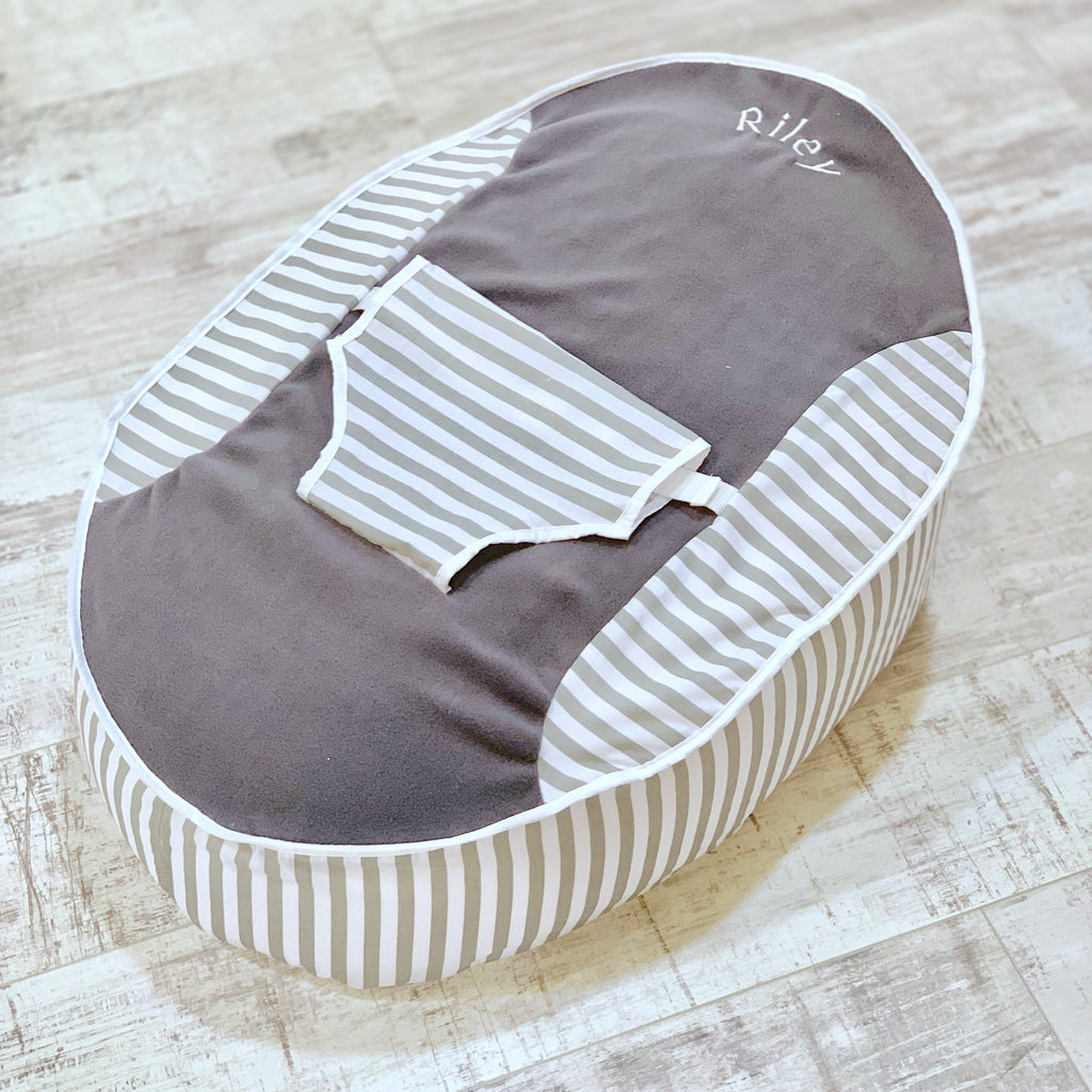 Personalised Grey Fleece And Grey Stripe Baby Bean Bag