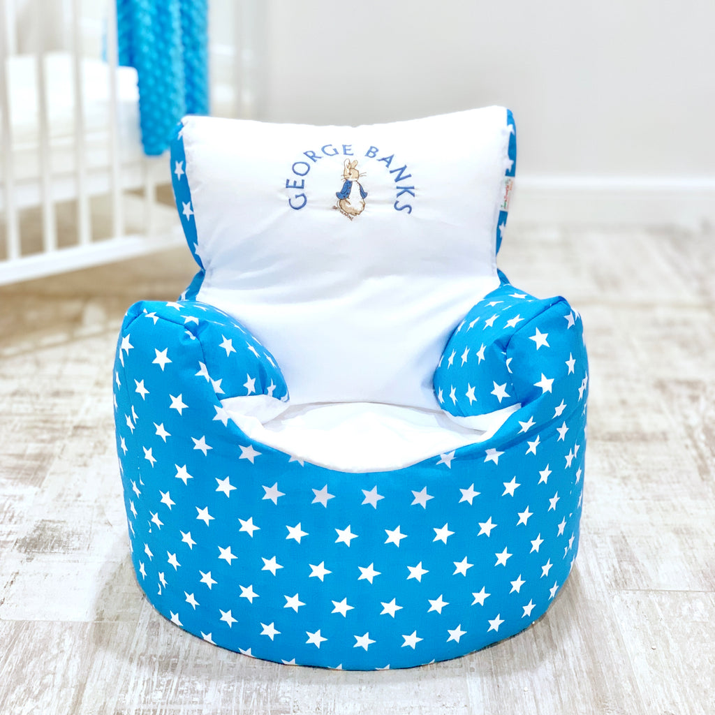 Personalised Blue Star Peter Rabbit Bean Bag Chair