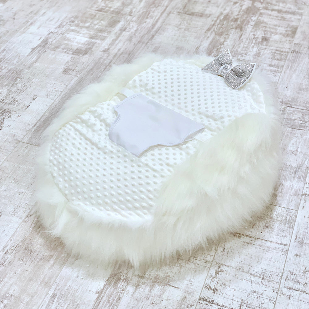 Personalised White Fur Baby Bean Bag