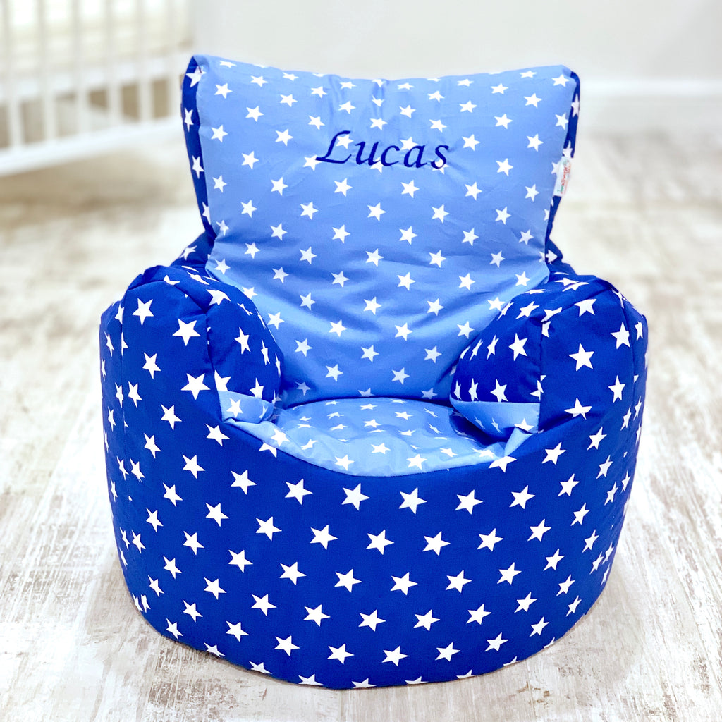 Personalised Royal And Baby Blue Star Bean Bag Chair