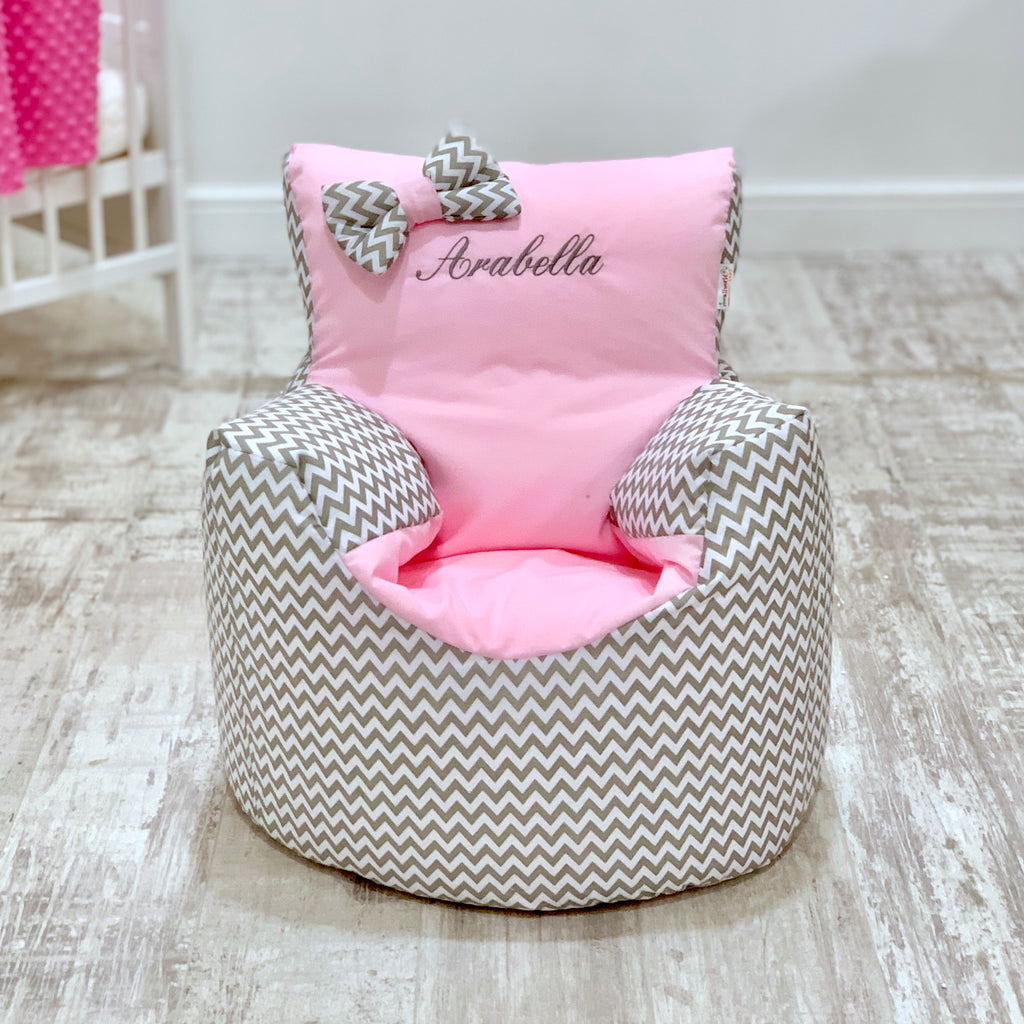 Personalised Grey ZigZag And Pink Bean Bag Chair
