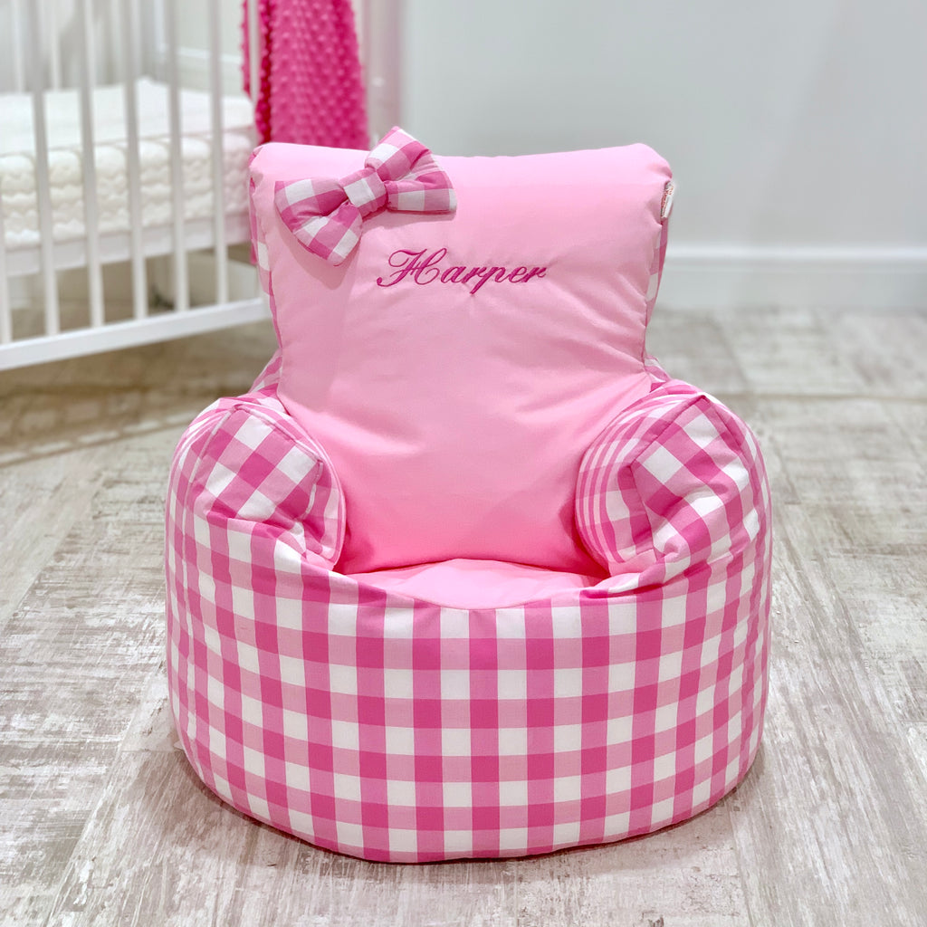 Personalised Pink Gingham Bean Bag Chair