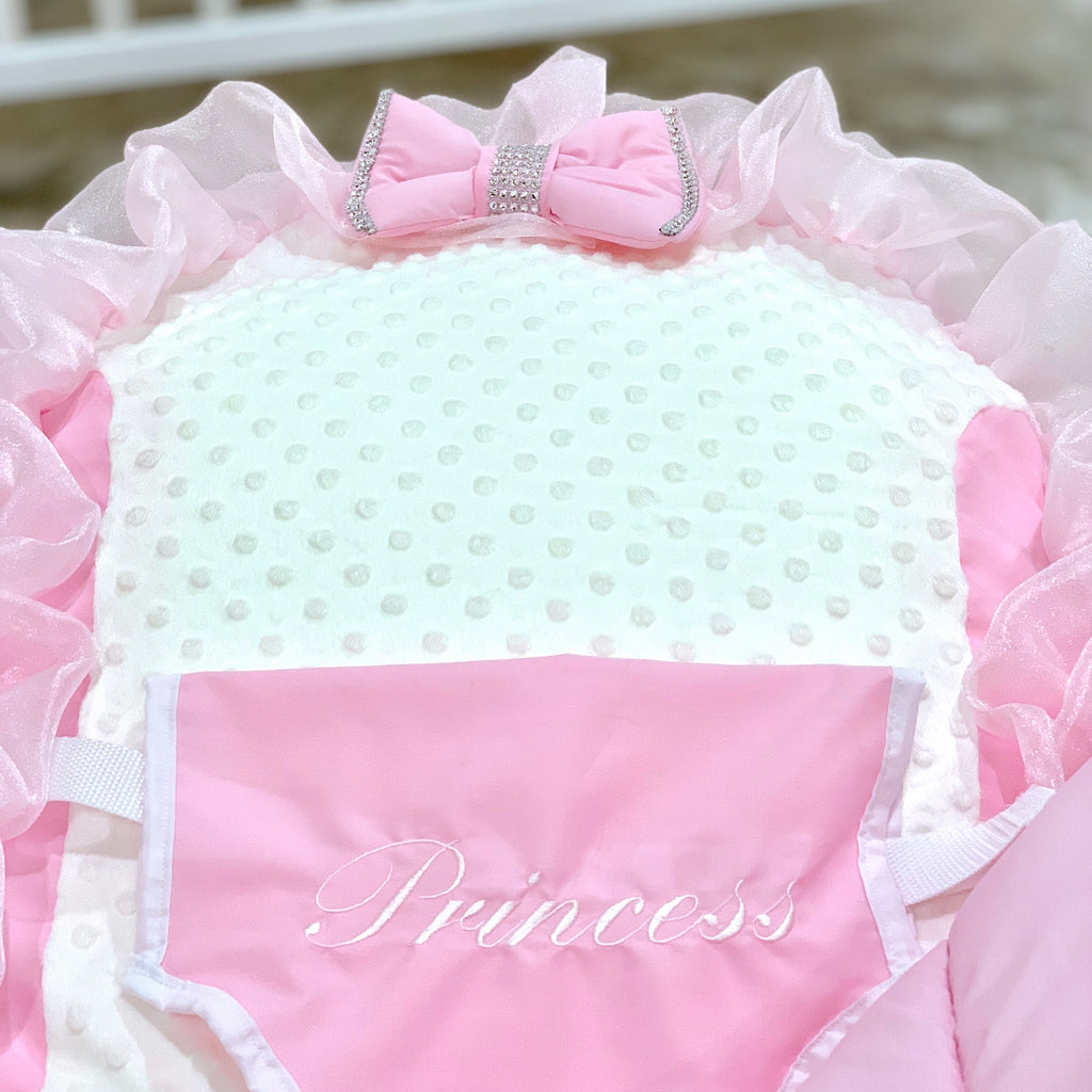 Personalised Pink Frilly Bling Baby Bean Bag Sleep Pod