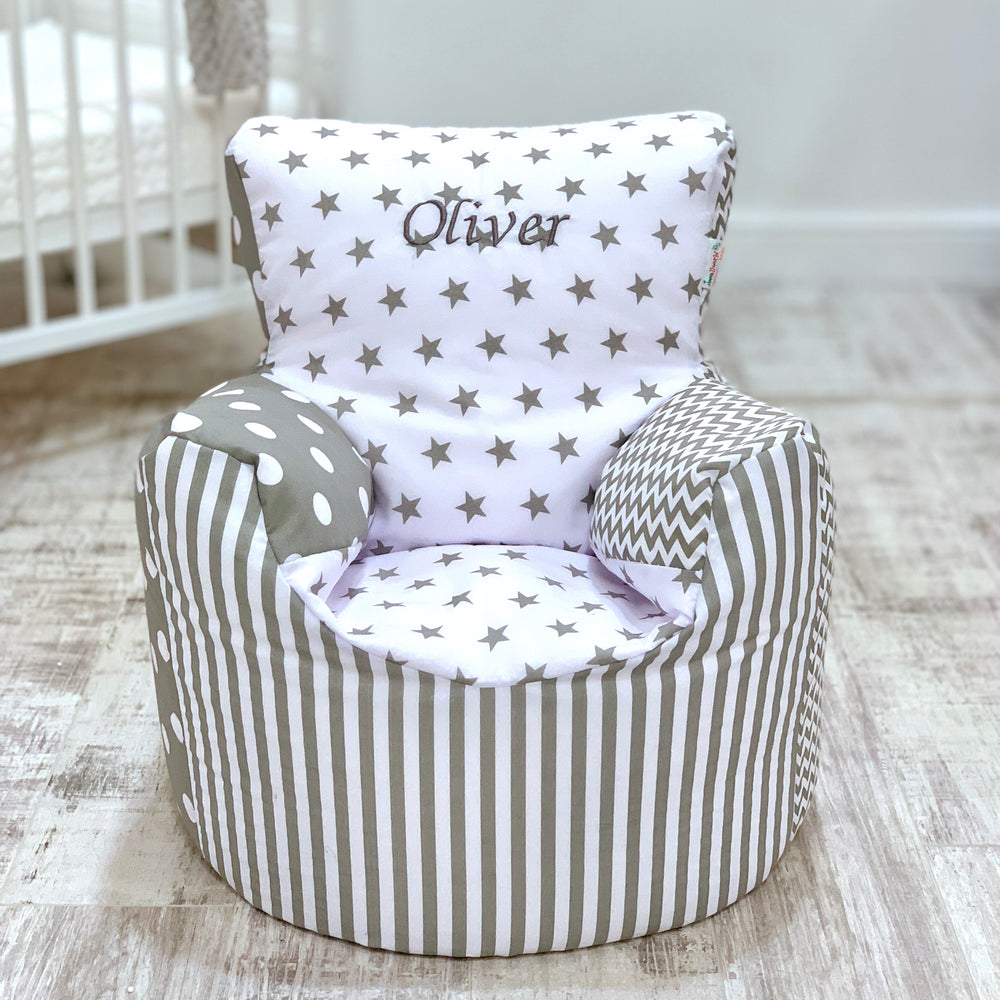 Personalised Grey Patchwork Bean Bag Chair
