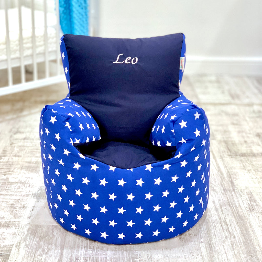 Personalised Royal Star And Navy Bean Bag Chair