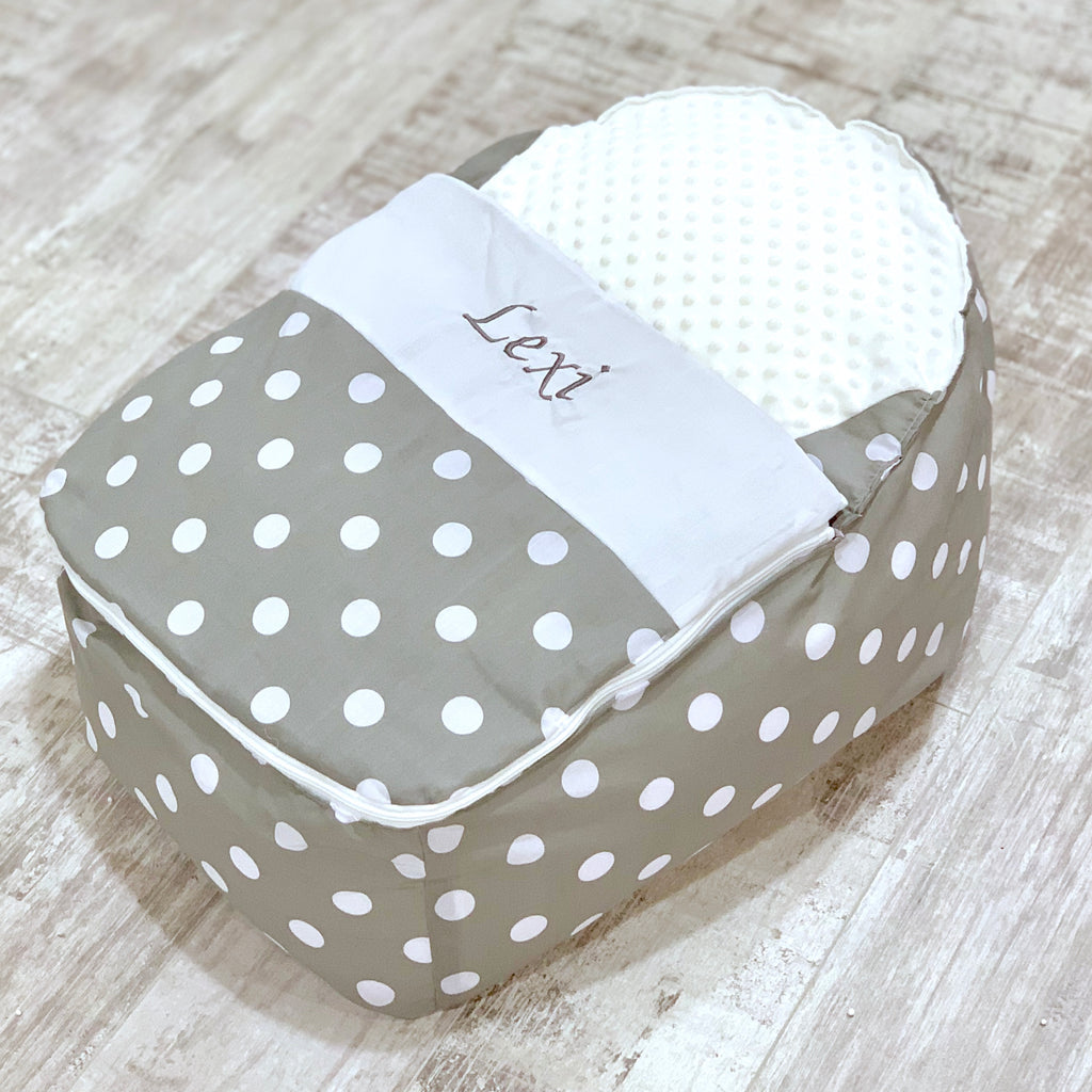 Personalised Grey Polka Dot Baby Bean Bag Sleep Pod