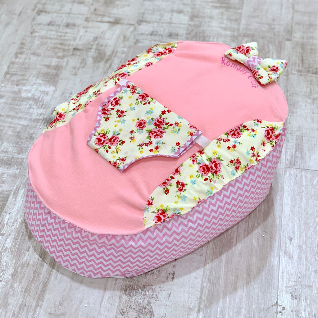 Personalised Pink Fleece And Cream And Scone Baby Bean Bag