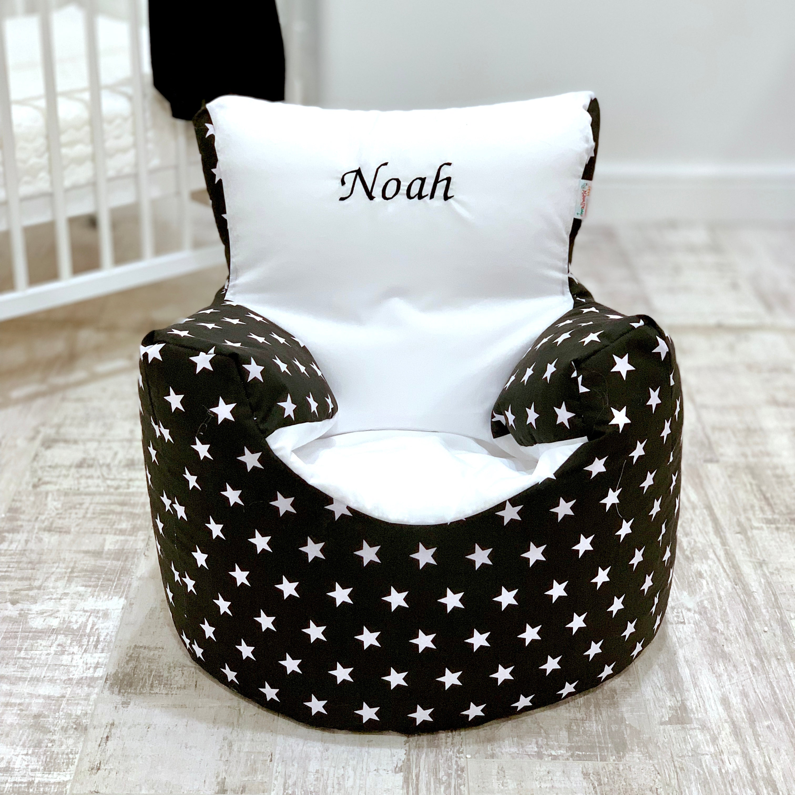 Magnificent Personalised Black And White Star Bean Bag Chair Default Title Squirreltailoven Fun Painted Chair Ideas Images Squirreltailovenorg