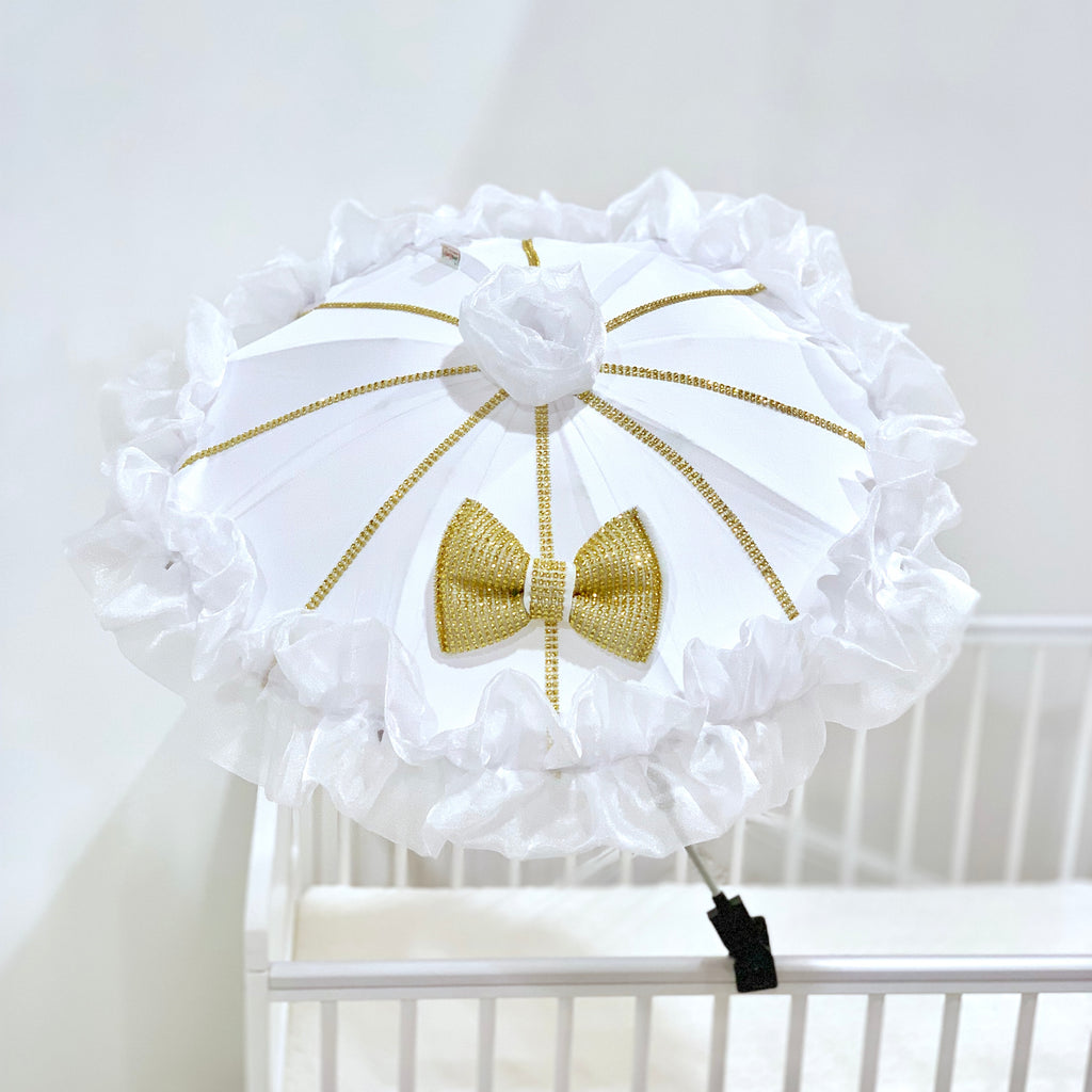 Personalised White And Gold Parasol