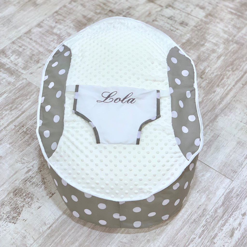 Personalised Grey Polka Dot Bean Bag