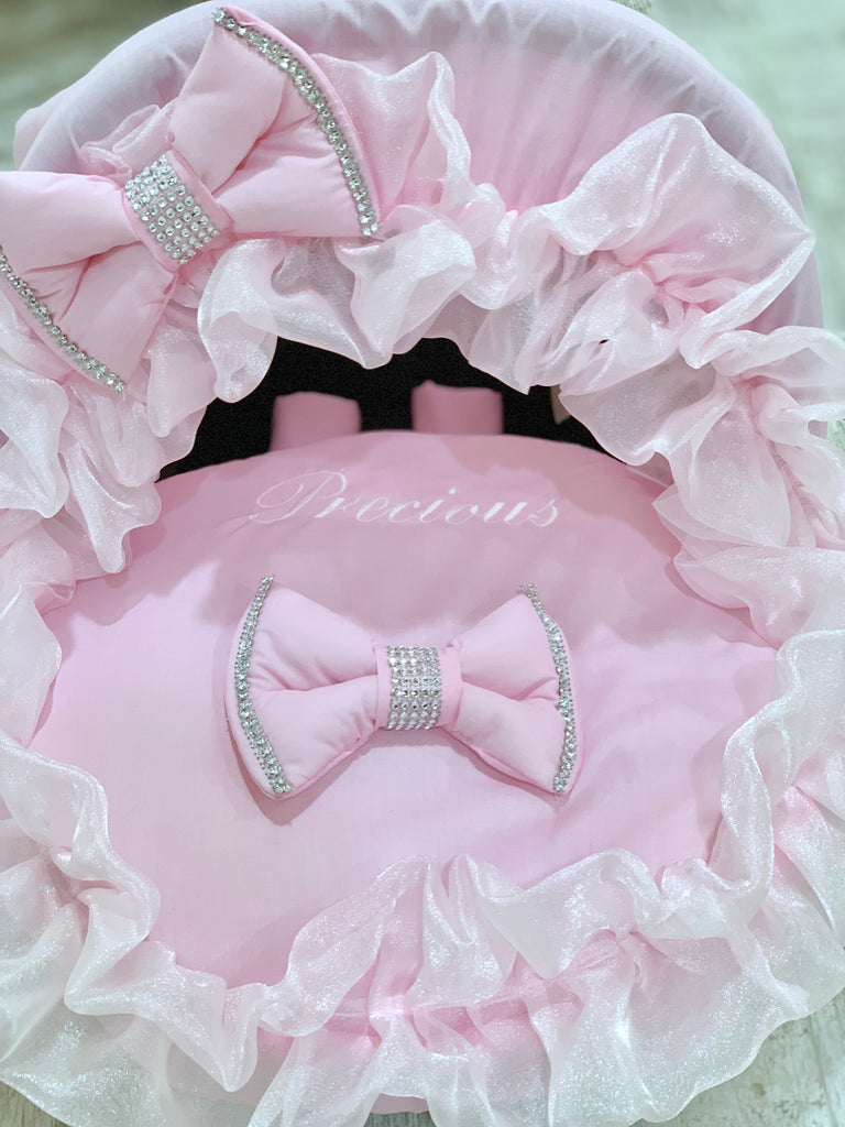 Personalised Pink Bling Frilly Car Seat Cover