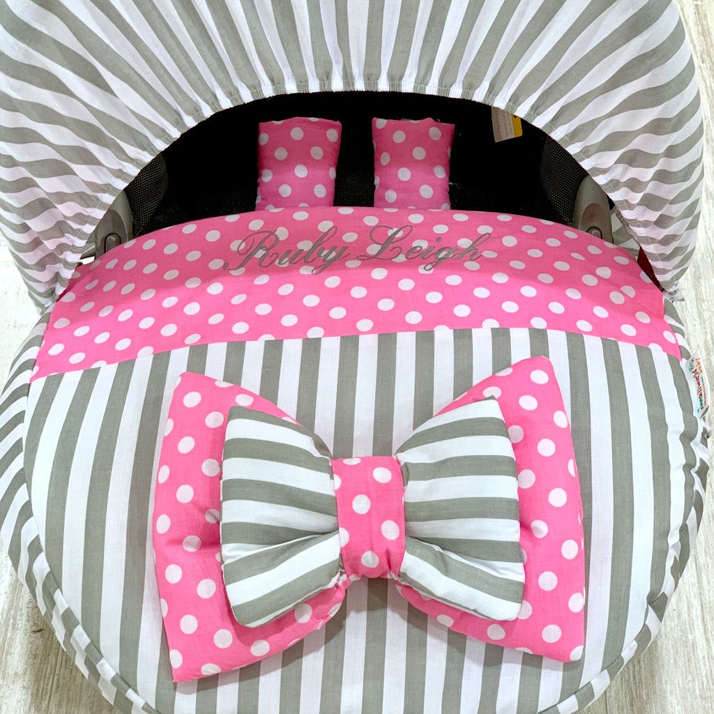 Personalised Grey Stripe And Pink Polka Dot Car Seat Cover