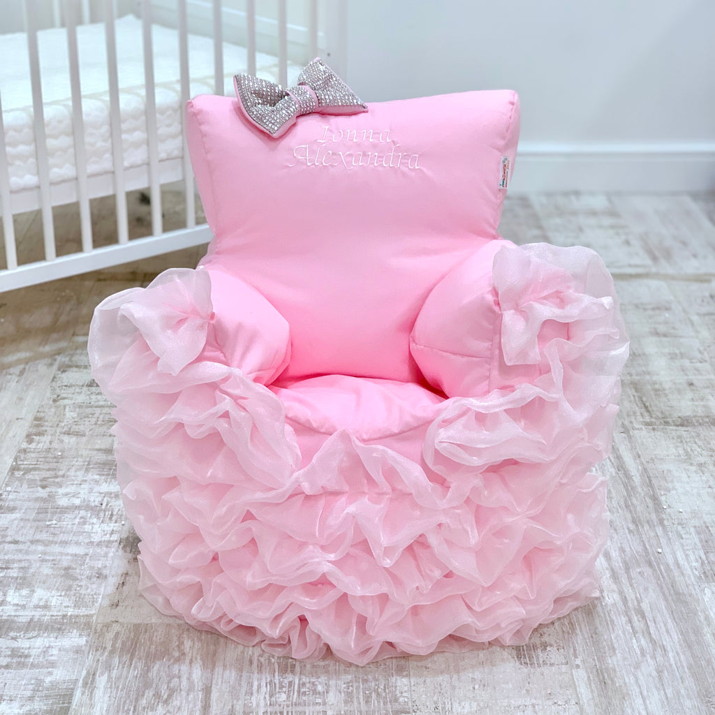 Personalised Pink Frilly Bling Bean Bag Chair