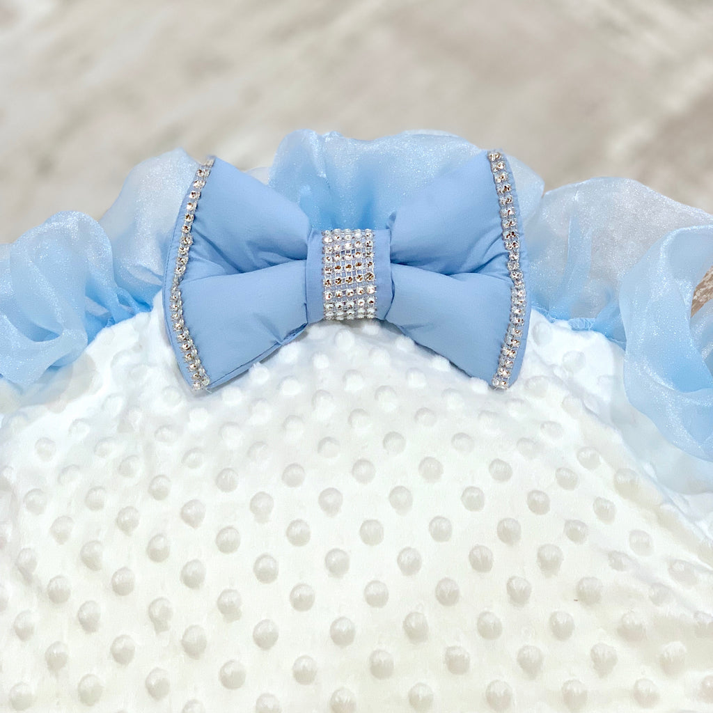 Personalised White Bling Blue Frill Baby Bean Bag