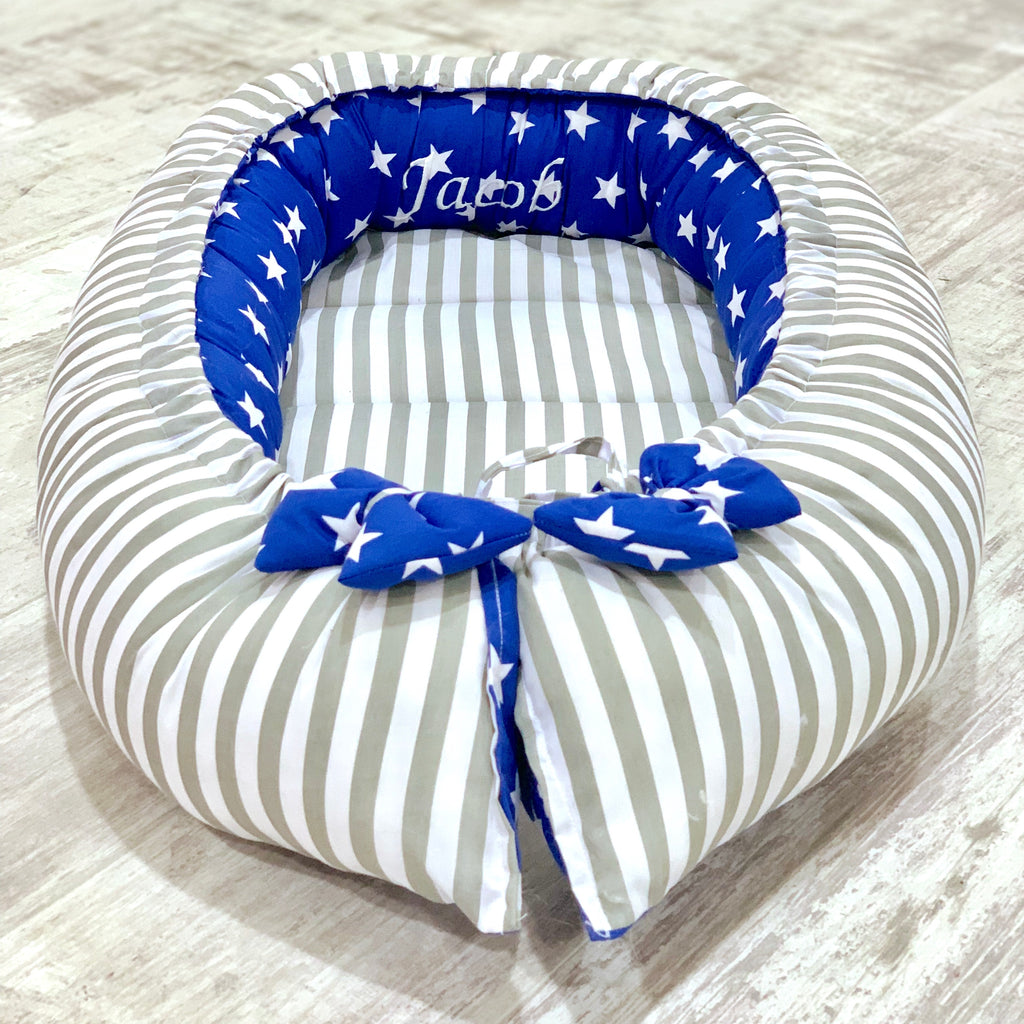 Personalised Grey Stripe And Royal Star Baby Sleep Nest Pod