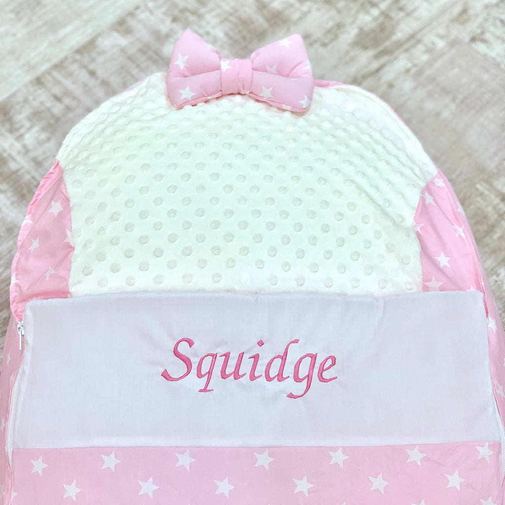 Personalised Pink Star Baby Bean Bag Pod