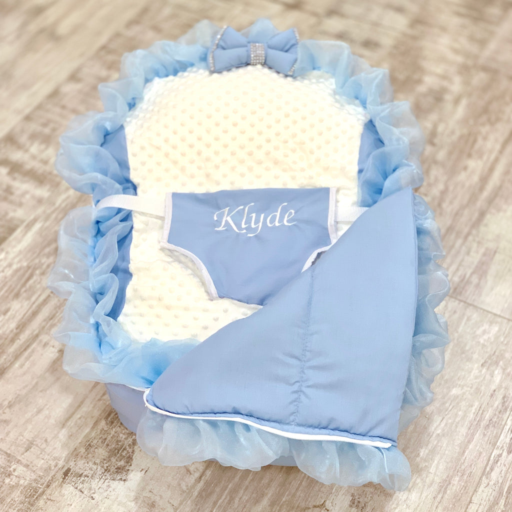 Personalised Blue Frilly Bling Baby Bean Bag Sleep Pod