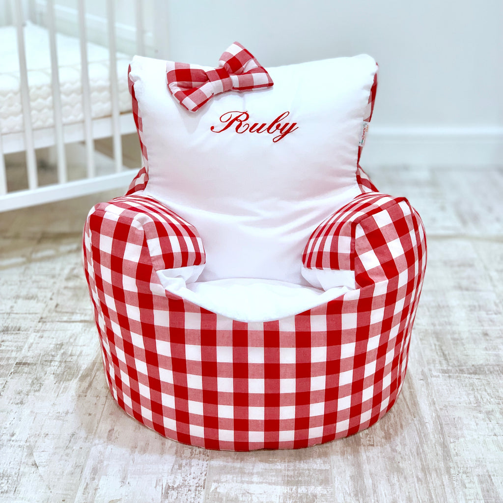 Personalised Red Gingham Bean Bag Chair