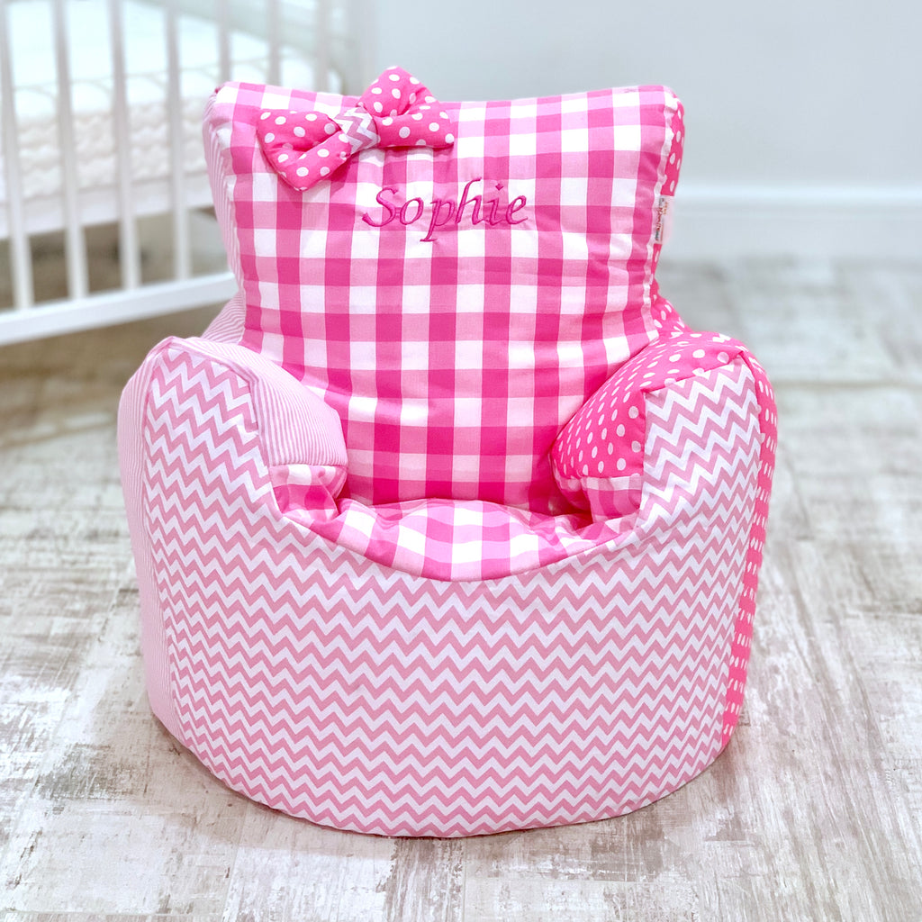 Personalised Pink Patchwork Bean Bag Chair